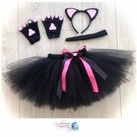 Black cat tutu costume tulle skirt ears tail paws set girls dress up cake smash photos fancy dress